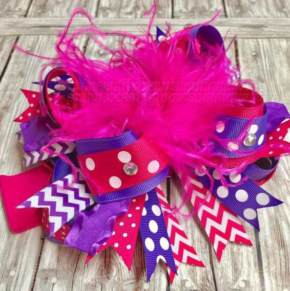 Bright Pink and Purple Over the Top Hair Bow