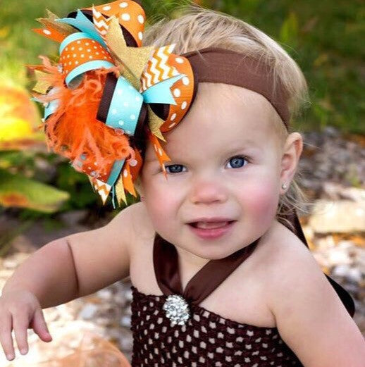 Stacked Over the Top Hair Bow Brown Orange Aqua