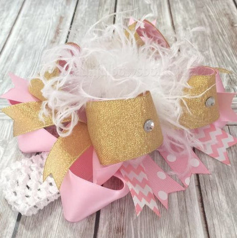 Big White Pink Gold Boutique Hair Bow Headband for Babies