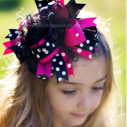 Black & Shocking Pink Polka Girls Over the Top Hair Bow Clip or Headband