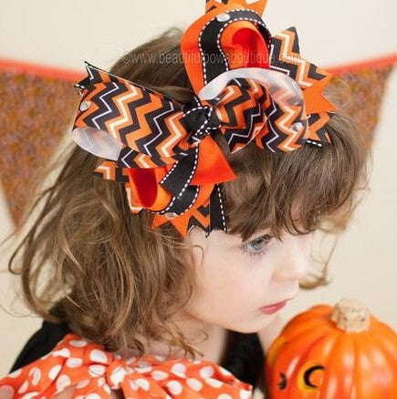 Buy Black and Orange Chevron Big Halloween Hair Bow Clip or Baby Girls Headband Online