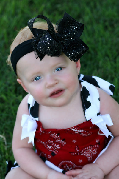 Black Boutique Glitter Sparkle Hair Bow Headband for Babies