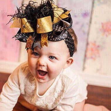 Easter Cross Over the Top Hair Bow Black and Gold