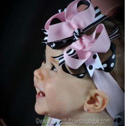 Black Pink Kiara Girls Hair Bow Clip or Headband