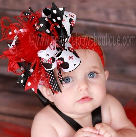 Black Red Minnie Mouse Girls Hair Bow Headband