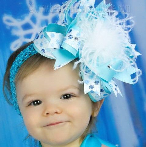 Buy Blue And White Snowflake Baby Hair Bow Headband Online At