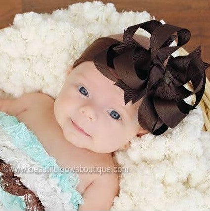 Boutique Brown Stacked Infant Bow Headband - CHOOSE COLOR
