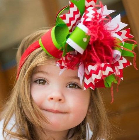 Boutique Christmas Green Red Baby Toddler Headband Bow