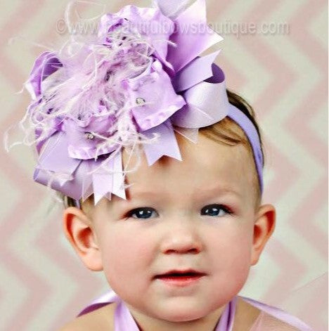Buy Boutique Lavender Hair Bow Headband for Girls Babies Online