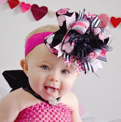 Buy Boutique Valentine Big Hearts Over the Top Hair Bow or Baby Headband  Online 54637ce5583