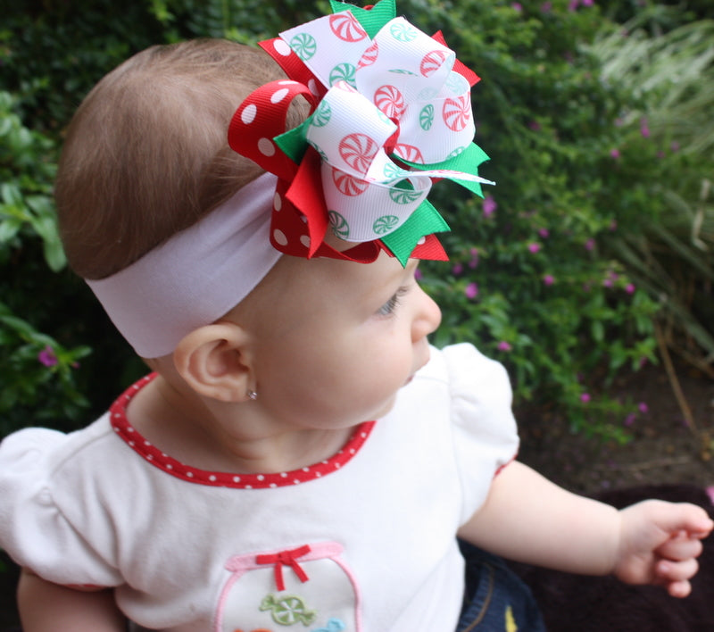 Christmas Hair Bows For Toddlers.Dainty Candy Peppermint Christmas Hair Bow Clip Or Headband