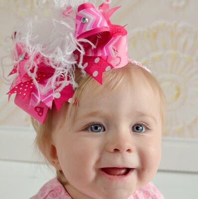 Over the Top Hair Bow Pink Valentine Hearts