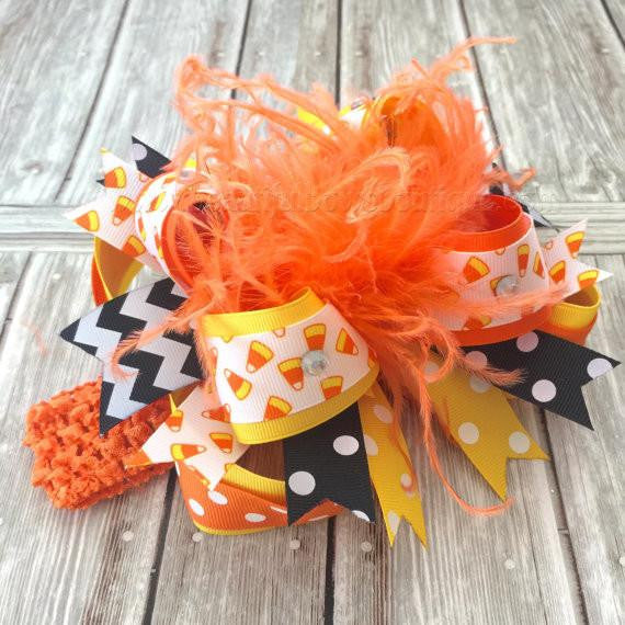 Candy Corn Hair Bow Halloween Baby Headband Over the top Stacked Baby Toddler Girl