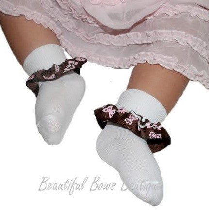 Buy Brown & Pink Butterfly Ribbon Ruffle Socks Online