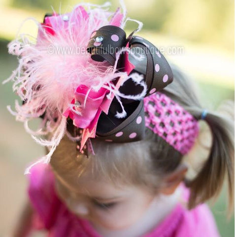 Buy Brown and Hot Pink Girls Over the Top Hair Bow Clip or Headband Online