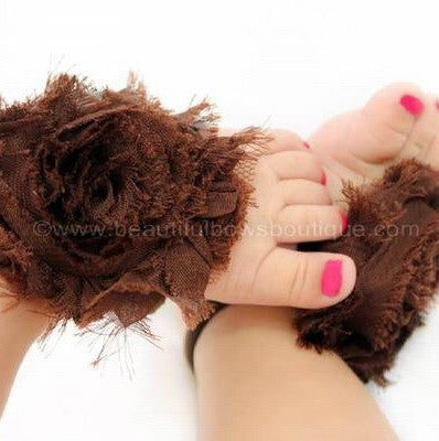 Buy Brown Chiffon Fabric Flower Barefoot Baby Sandals Online