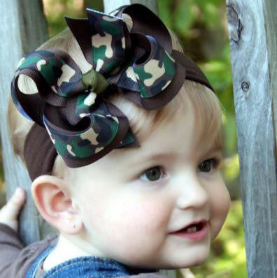 Camouflage Girls Hair Bow Clip or Headband