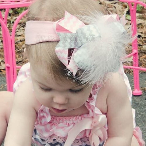 Buy Chevron Gray Pink Hair Bow Baby Headband Online