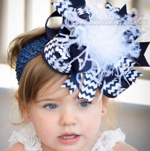 Buy Chevron Navy Blue White Boutique Bow Headband Online