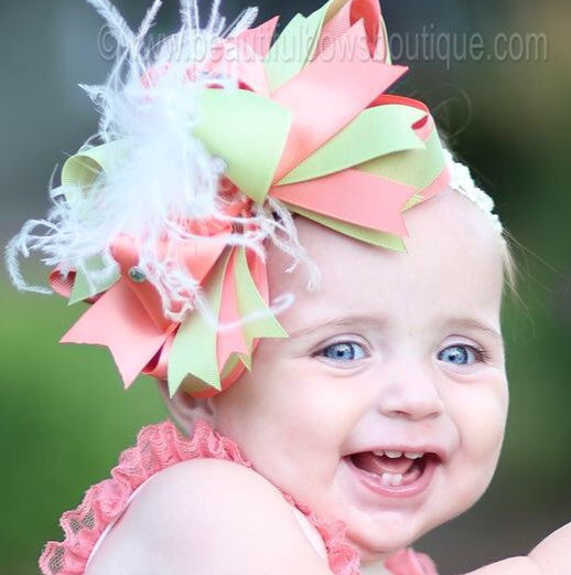 Buy Coral and Green Hair Bow Baby Headband for Girls Online