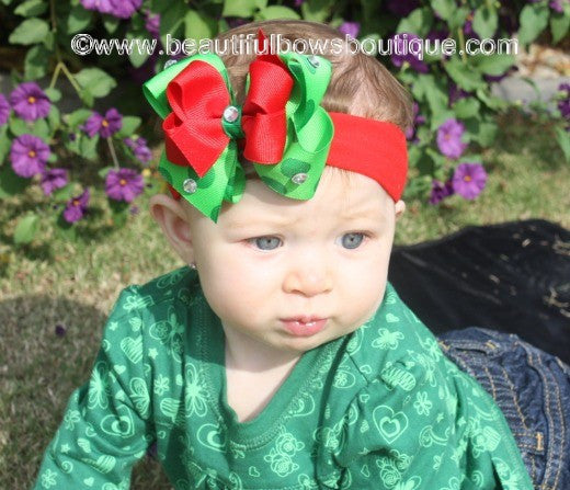 Dainty Christmas Dot Girls Hair Bow Clip or Headband