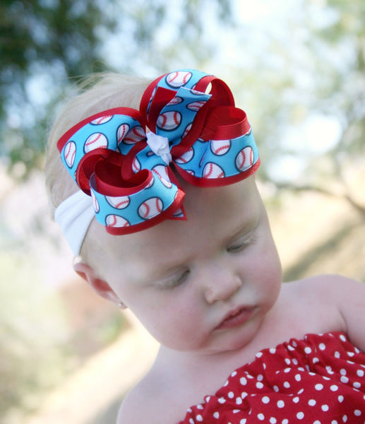 Baseball Girls Hair Bow Clip or Headband