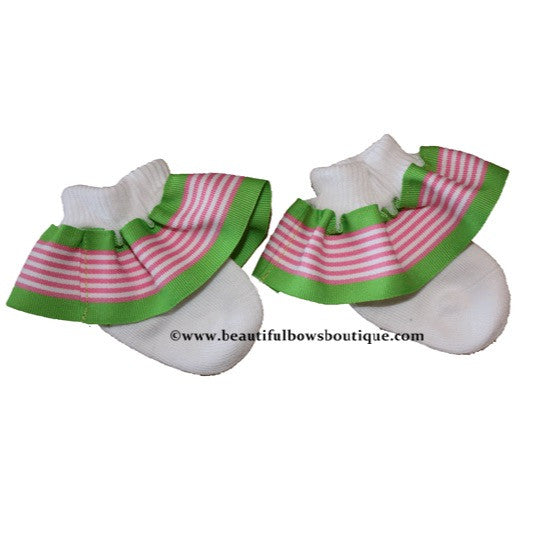 Green and Pink Stripe Ribbon Ruffle Socks
