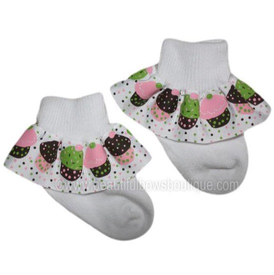 Big Cupcake Ribbon Ruffle Socks