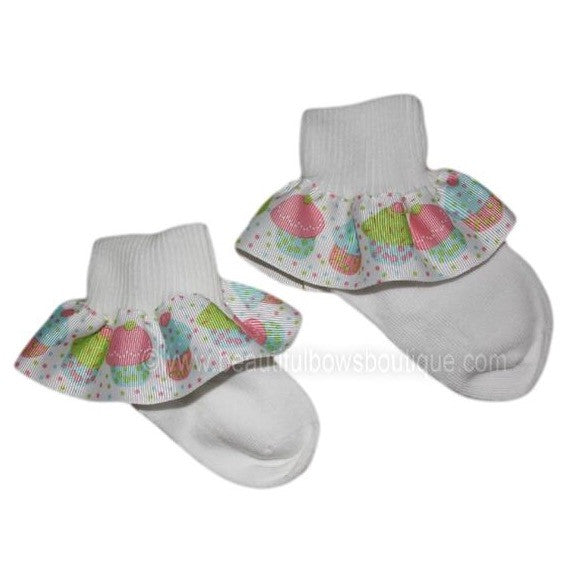 Buy Big Pastel Cupcake Ruffle Ribbon Socks Online