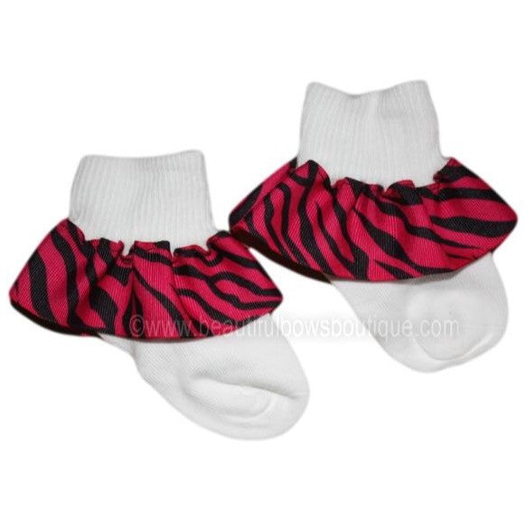 Big Shocking Pink Zebra Ruffle Ribbon Socks