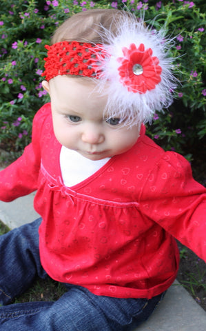 Fluffy Red Flower Headband,White and Red Christmas Baby Headband