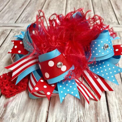 Buy Dr. Seuss Over the Top Bow Red and Turquoise Online