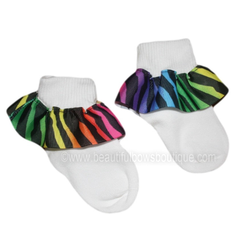 Funky Rainbow Zebra Ruffle Ribbon Socks