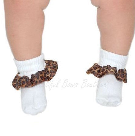 Buy Leopard Ribbon Ruffle Socks Online