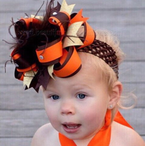 Girls Brown and Orange Big Fall Hair Bow Stacked