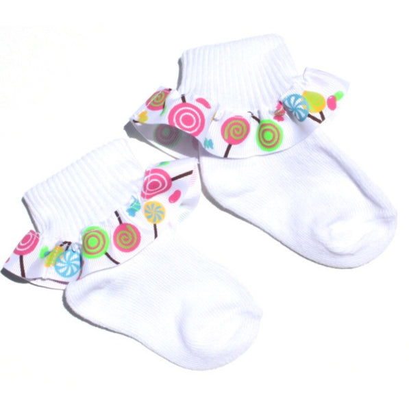 Lollipop Candy Ribbon Ruffle Socks