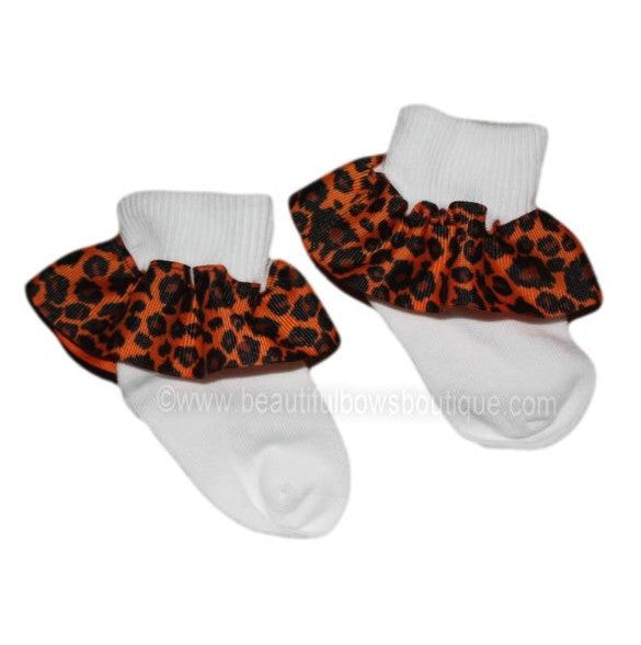 Orange Cheetah Ruffle Ribbon Socks