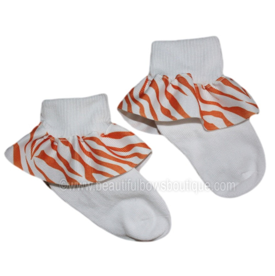 Orange and White Zebra Ribbon Ruffle Socks