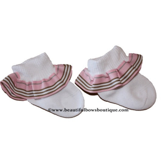 Buy Pink and Brown Stripe Ribbon Ruffle Socks Online