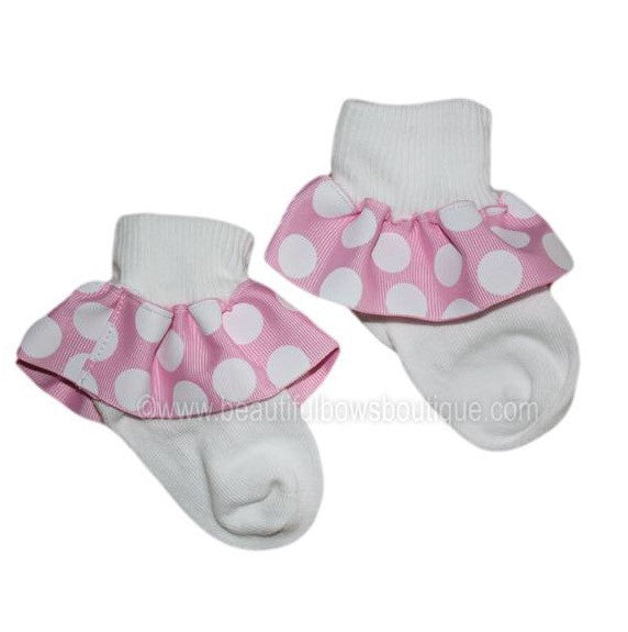 Pink and White Big Dot Ribbon Ruffle Socks