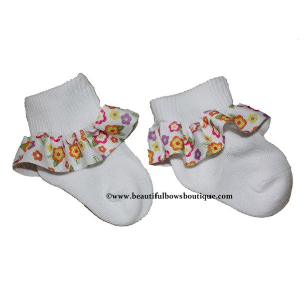 Spring Flower Ribbon Ruffle Socks
