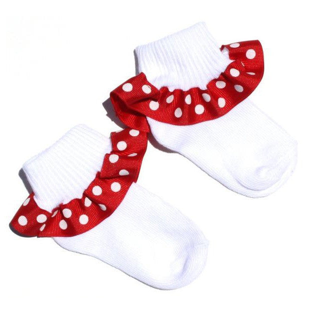 Buy Red Polka Dot Ribbon Ruffle Socks-CHOOSE COLOR Online