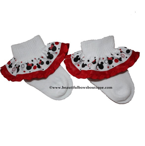 Red and Black Minnie Mouse Ribbon Ruffle Socks
