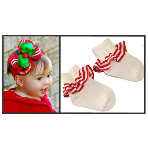 Red and White Stripe Ruffle Socks