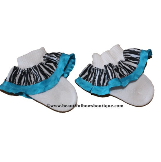 Buy Turquoise Zebra Ribbon Ruffle Socks Online