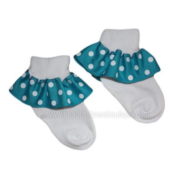 Buy Turquoise and White Polka Dot Ribbon Ruffle Socks Online