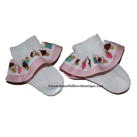 Buy Yummy Ice Cream Ribbon Ruffle Socks Online