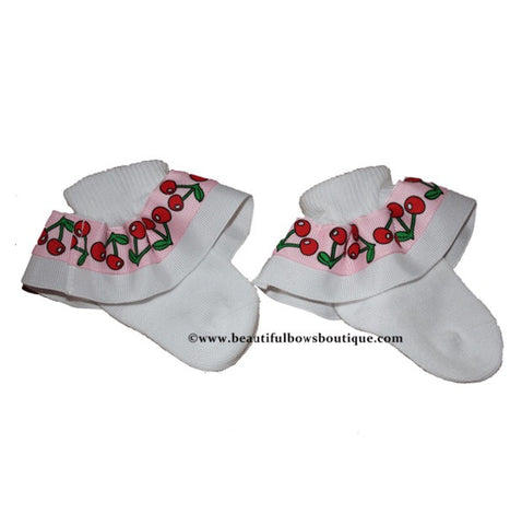 Buy White Cherries Ribbon Ruffle Socks Online