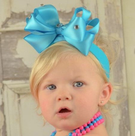 Buy Boutique Turquoise Satin Girls Hair Bow Headband Online