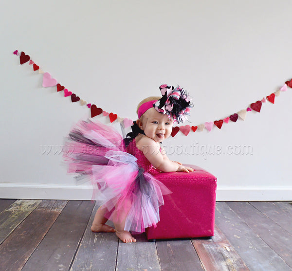 Buy Boutique Valentine Big Hearts Over the Top Hair Bow or Baby Headband Online
